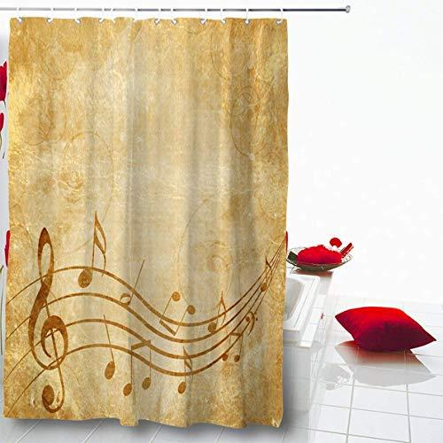 AdaCrazy Vintage Buch Pergament Brief Sepia Design braun Vintage alte Musik Blatt Notizen Sol gelb Mikrofaser Bad Duschvorhang modernes Bad Vorhang 71 x 71 Zoll