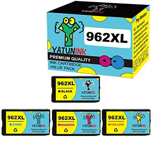 YATUNINK Remanufactured Ink Cartridge Replacement for HP 962XL Black 962 XL Cyan Magenta Yellow Ink Cartridges Combo Pack for HP Officejet 9012 OfficeJet Pro 9010 9015 9018 9020 9025 Printer (4 Pack)