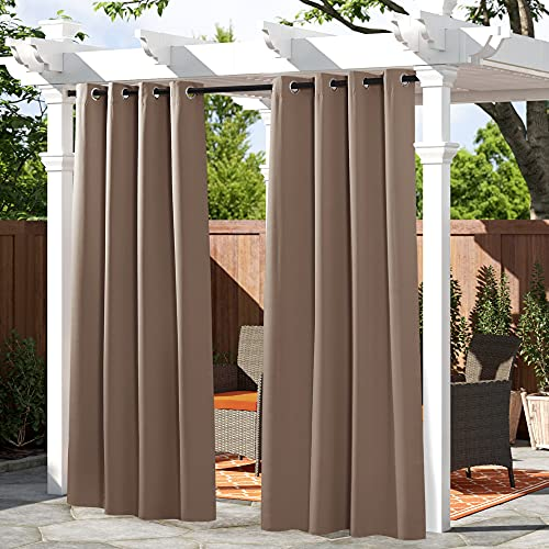 PONY DANCE Patio Curtains Outdoor - Blackout Shades Drapery Thermal Insulated Light Blocking Window Treatments Panels for Garden, Mocha, 52 W by 84 in L, Set of 1 Piece
