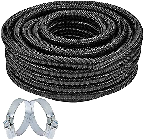 SPARES2GO Flexible Corrugated Water Butt Extension Overflow Connector Hose Pipe (25mm x 5M + 2 x Clamp Clips)