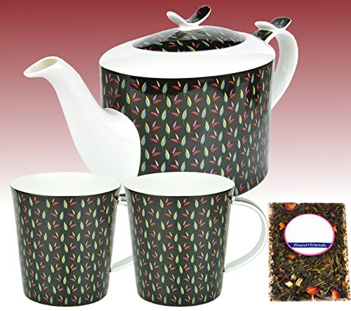 MamboCat 3-TLG. Tee-Set - Jameson & Tailor Teekanne Teepflanzen-Dekor, 1,4 l Kanne + Zwei Becher inkl. Teeprobe