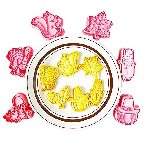 GS Thanksgiving Day - Juego de 6 moldes para galletas en 3D, prensas manuales, moldes para galletas, moldes para galletas de Pascua, moldes para galletas, moldes de Navidad, de plástico para niños