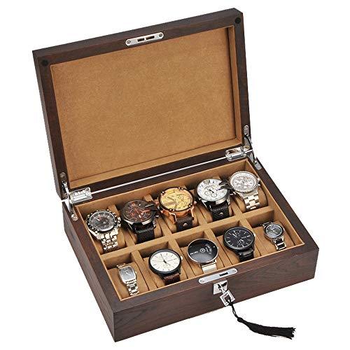 Caja de reloj / caja de exhibición de almacenamiento de joyería de reloj de madera maciza, hecha a mano, con cerradura de metal 10, almacenamiento de reloj y almohada de almacenamiento extraíble,A