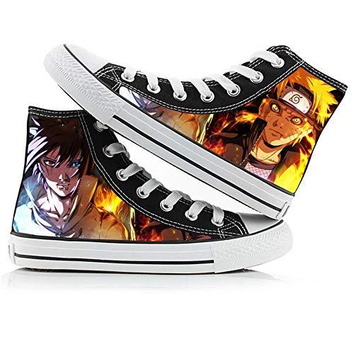 JPTYJ Uzumaki Naruto Uchiha Sasuke/Akatsuki Zapatos Altos Unisex Zapatos Casuales de Anime Zapatos de Lona para Estudiantes Zapatillas de Deporte de la Escuela Secundaria C-42
