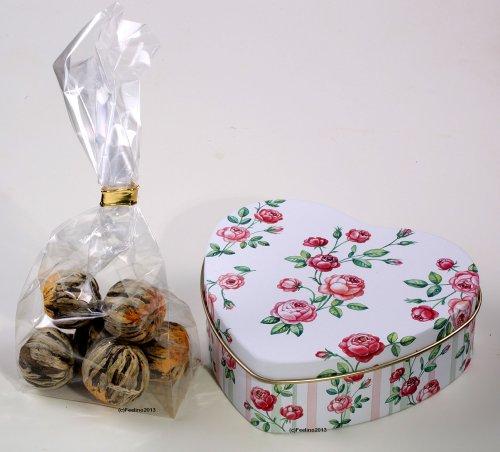 Feelino puede rosas de Corazón lata Incluye 6té Flores/Rosas en muy de probier Noble y caja de regalo, incluye instrucciones de uso, hochwertigster té con auténticas CALEN lavandula. Flores