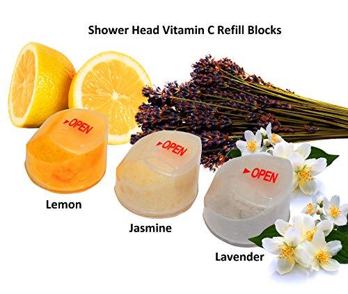 saine Splash Lot de 3 blocs de recharge de vitamine C filtre de douche, 1 x Citron, 1 x Lavande, 1 x Jasmin Saveur Parfums pour la vitamine C filtré pommeaux de douche (Citron, lavande, jasmin)