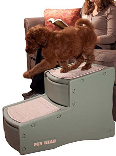 Pet Gear Easy Step II Pet Stairs, 2 Step for Cats/Dogs up to 150 Pounds, Portable, Removable Washable Carpet Tread, 2-Step, Sage