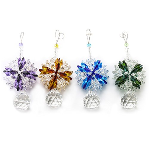 H&D Kristall Glass Facette Anhänger/Behang/Pendel Tropfen zum Aufhängen als Fensterschmuck und Raumpendel