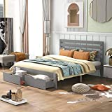 Queen Bed with Drawers,Wood Bed Frame with Headboard and Footboard Mattress Foundation Wood Bed Platform for Boys, Girls, Kids, Young Teens and Adults,Gray