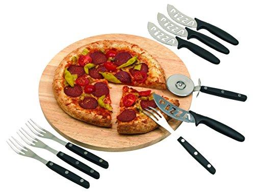 Unbekannt Pizzabrett 32 cm Holzbrett mit Pizzaschneider Besteck 4 Pers