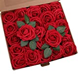 ShenHO Lot de 25 Roses artificielles en Mousse polyéthylène pour Bouquets de Mariage, centres de Table, décoration de fête de Mariage (Wine Red, 25pcs)