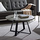 WE Furniture Rustic Farmhouse Round Metal Coffee Accent Table Living Room, 30 Inch, Grey