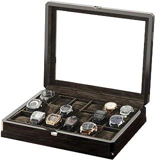 HEMFV Watch Box Top Clear Glass Jewelry Box 18 Slot Solid Wood Watch Box Jewelry Boxes Organizer Storage Tray for Men & Women