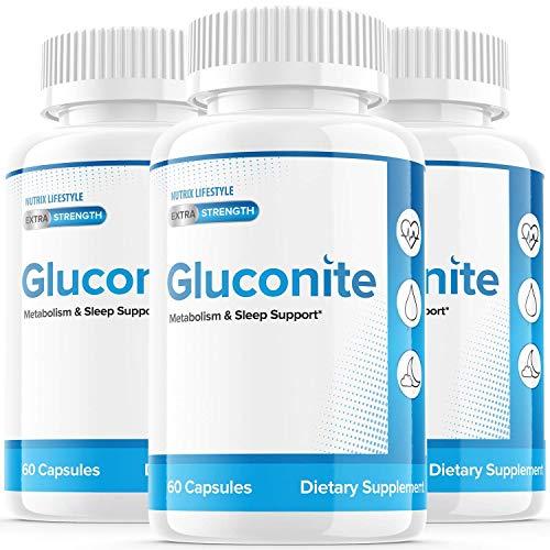 (3 Pack) Gluconate Powder Gluconite Blood Sugar Support Sleep Diabetics Gluconate Iron Pills Extra Strength Zinc Gluconite Supplement (180 Capsules)