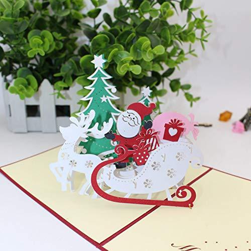 Hudetic 3D handgemaakte Vrolijk kerstboom rendier kerstman papier uitnodiging wenskaarten briefkaart Nieuwjaar volwassenen cadeau