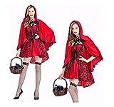 XSQR Halloween Mujer Cosplay Vestido Caperucita Roja Capa Capa Caperucita Roja Disfraz,Red,S
