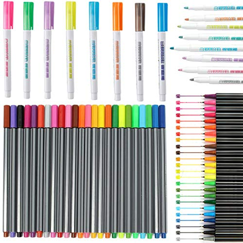 los bolígrafos de contorno de doble línea Fiyuer 32 Pcs rotuladores permanentes de colores pintura acrilica para pintar piedras tarjetas de regalo tarjetas de felicitación álbumes de fotos