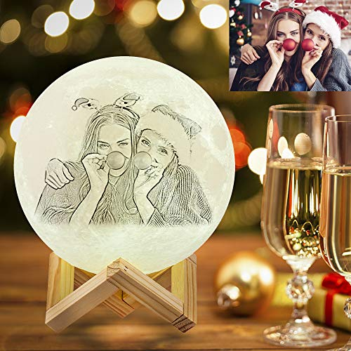 AED Personalized Moon lamp 7.1inch 16Colors Custom Moon lamp with Picture Engraved 3D Photo Night Light Moon Light Customized Picture Engraved Moon lamp Kids Photo Night Light