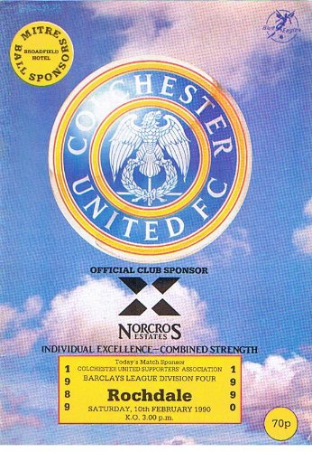 Colchester United v Rochdale FC 10/02/90 (Layer Road) football programme