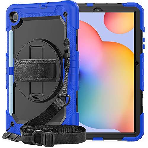 Custodia per tablet Samsung Galaxy Tab S6 Lite da 10,4 pollici, SM-P610/P615, custodia durevole a prova di urti, con supporto 360, portapenne, tracolla e tracolla (blu)