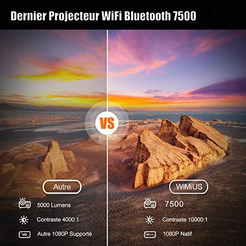 Vidéoprojecteur WiFi Bluetooth Full HD 1080P, 7500 WiMiUS Rétroprojecteur 1080P Supporte 4K Réglage 4D Fonction Zoom Projecteur WiFi Portable Home Cinéma pour PPT,iOS,Android,etc-Sacoche Inclut