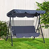3 Seater Canopy Swing Chair Outdoor Garden Patio Rocking Bench with Sun Cover Heavy Duty Metal Frame - Grey