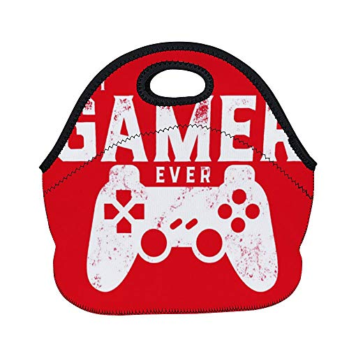 Best Gamer Ever for Video Games Geek Neoprene Lunch Tote Insulated Reusable Picnic Lunch Bags Boxes for Women, Men and Kids Mom Bag Tote Bag for Work Office Picnic