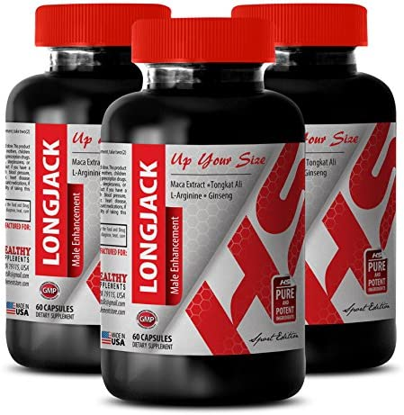 Muscle gain xt All Natural LONGJACK 745MG L arginine Extra 3 Bottle 180 Capsules product image
