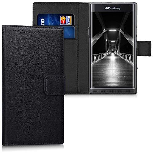kwmobile BlackBerry Priv Hülle - Kunstleder Wallet Case für BlackBerry Priv mit Kartenfächern & Stand - Schwarz