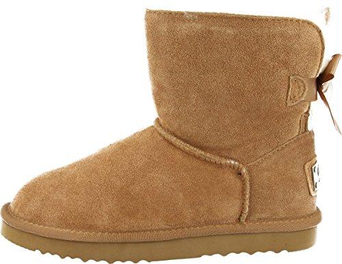 OOG Damen Leder Schlupfstiefel | warme gefütterte Single-Bow-Boots `Mini´ Stiefeletten | Winter-Schneestiefel mit Einer Schleife (Camel, 40)