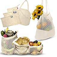 ecofreaco Reusable Produce Bags | Organic Cotton Mesh Produce Bags | Set Of 7 | Double-Stitched Mesh Eco Bags + Zero Waste Grocery Bag | Washable & Eco-Friendly Shopping & Storage Solution