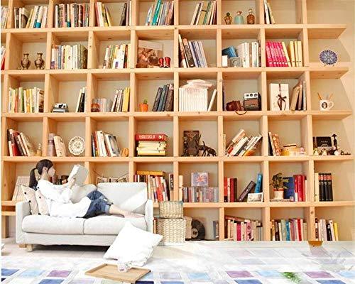 Custom Wallpaper 3D European Style Sofa Tv Background Wallpaper Wall Bookcase Books Bookshelf 3D Wallpaper Mural W:200Cm×H:140Cm