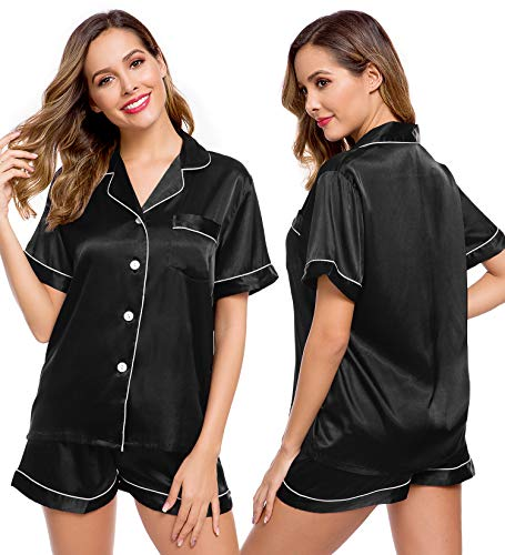 LecGee Womens Silk Satin Pajamas Set Button Down Sleepwear Loungewear
