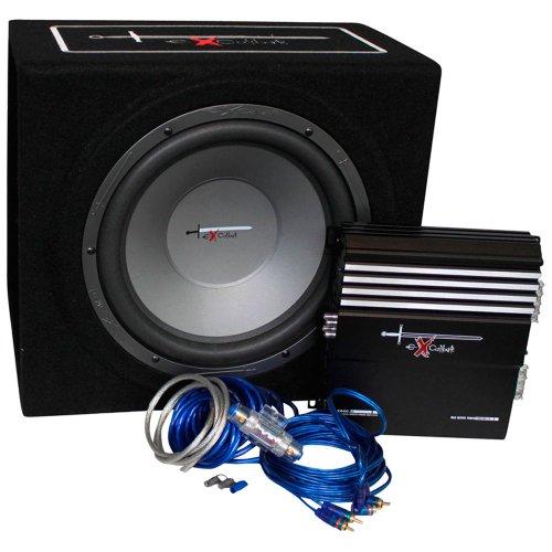 AutoStyle Excalibur X.3 Extreme Reflex-Bass-boxenset, 30,5 cm, met 1000 W versterker, kabelset en subwoofer-behuizing, zwart/blauw