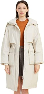 ZYDP Women's Knee-Length Down Puffer Coat Loose Waist Hooded Down Jacket Drawstring Waist Front Big Side Pocket (Color : Beige, Size : M)