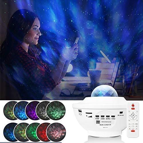 Star Projector, Nachtlichtprojektor für Kinder, Galaxy Projector mit Bluetooth-Lautsprecher und Fernbedienung, Ocean Wave Starry Projector für Baby Kids Bedroom Party (WEISS)