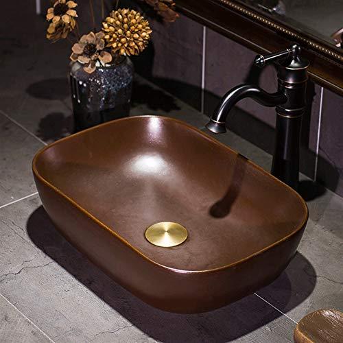 Baño Lavabo de cerámica Recipiente encimera Fregadero Gloss Brown rectángulo fregadero diseño curvo Lavabo de la vendimia for Aseo de lavamanos, de 16 pulgadas, hecho a mano metálica vidriada de color