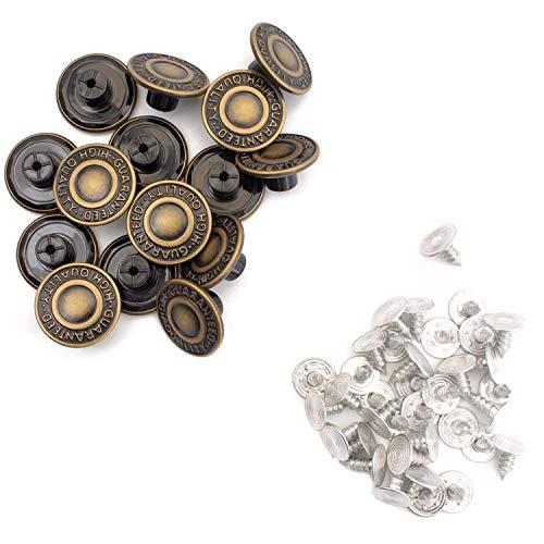 Trimming Shop 17mm messing jeans knopen zwart strass steentjes en pennen met bevestigingshandgereedschap JB42