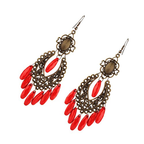 freneci Pendientes de Flecos con Borlas Y Cuentas Grandes de Colores con Encanto para Mujer - Rojo