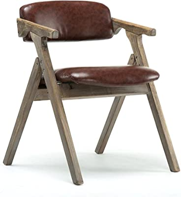 Retro Simple Solid Wood Folding Dining Chair with Cushion Household Leisure Armchair Makeup Stool Hotel Backrest Chair Coffee Shop Office Chair,Brown