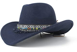 SHENTIANWEI Men Women Autumn Western Cowboy Hat with Tassel Ribbon Adult Hat Sombrero Hat Wide Brim Fascinator Hat