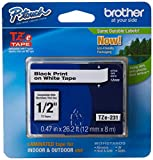Brother Genuine P-touch TZE-231 Tape, 1/2' (0.47') Wide Standard Laminated Tape, Black on white, Laminated for Indoor or Outdoor Use, Water-Resistant, 0.47' x 26.2' (12mm x 8M), TZE231