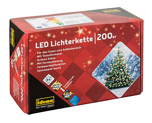 Idena 31098 - LED Lichterkette mit 200 LED, Farbwechselfunktion in warm weiß und bunt, mit 8 Stunden Timer Funktion, Innen und Außenbereich, für Partys, Weihnachten, Deko, Hochzeit, ca. 24,9 m