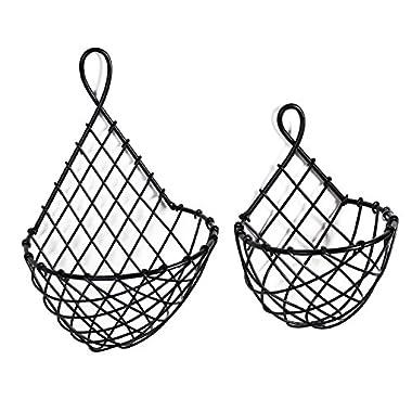 Wall Mounted Black Metal Fruit Vegetable Baskets, Large & Small Hanging Produce Bins, Set of 2