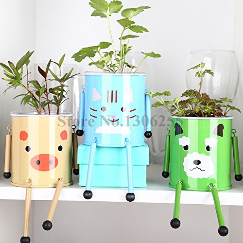 4pcs / lot Belle Blindé Pet Bonsai Creative animale Robot en forme de pot avec des graines et des sols pour Office Bureau SeedsAndPlants WCP15089