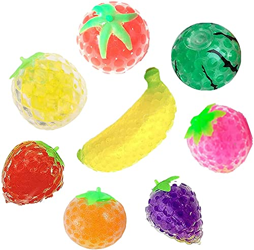 5cm Squishy Balls Fidget Toy, Fruit Water Bead Filled Squeeze Stress Balls, Fruit Sensory Stress Mini Ball Toy, Stress Relief for ADHD,OCD,Autism, Depressions - Ideal for Kids and Adults (1 Pcs)