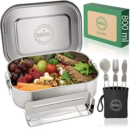 SIEGL® Eco Lunchbox | Premium Set | Fiambrera de acero inoxidable con juego de cubiertos gratis | Fiambrera antigoteo con subdivisión para niños y adultos | 800 ml y 1400 ml (800 ml)