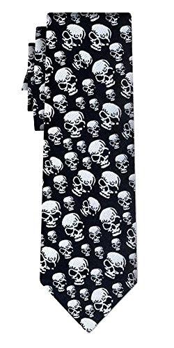 Cravate skulls silver on black