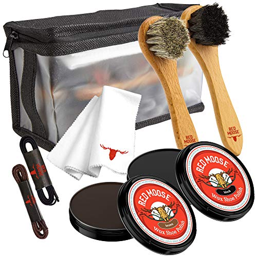 Full Leather Wax Shoe Polish Kit - 2x Brush, Buffing Cloth, Travel Case, Laces - Red Moose