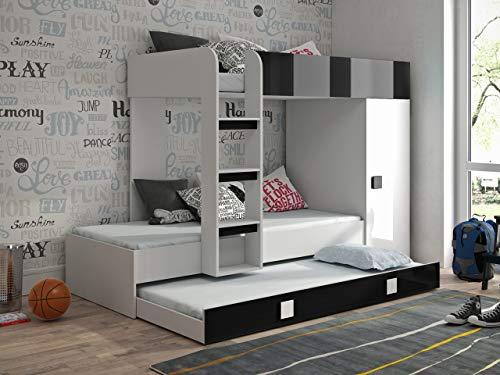 Etagenbett für Kinder TOLEDO 2 Stockbett mit Treppe und Bettkasten KRYSPOL (Weiß + Schwarzer Glanz)